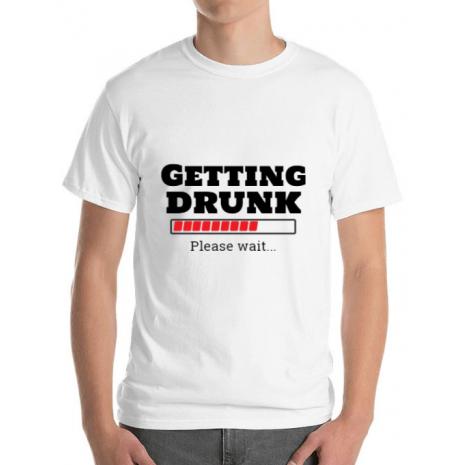 Tricou ADLER barbat Getting drunk Alb