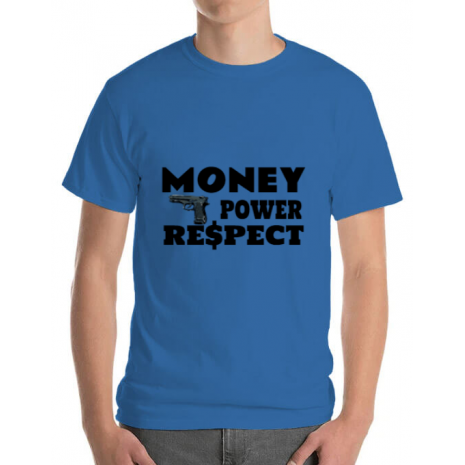 Tricou ADLER barbat Money, power,respect Albastru azuriu