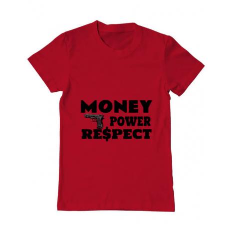 Tricou ADLER barbat Money, power,respect Rosu