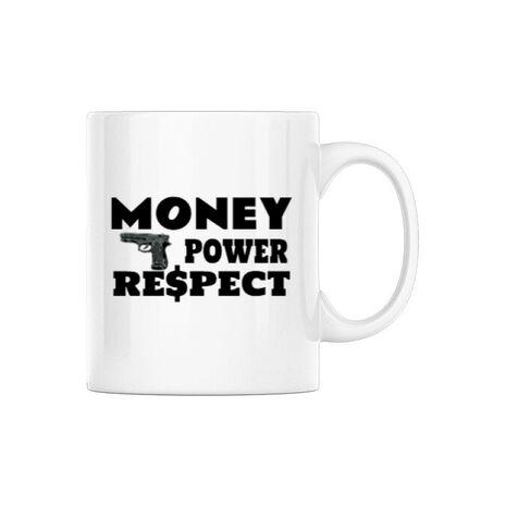 Cana personalizata Money, power,respect Alb