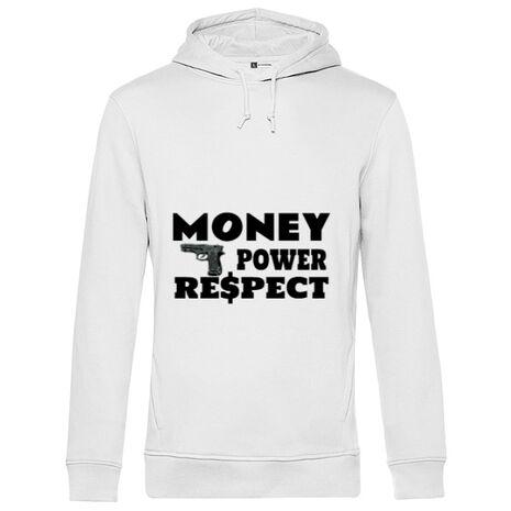 Hoodie barbat cu gluga Money, power,respect Alb