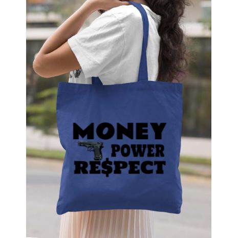 Sacosa din panza Money, power,respect Albastru regal