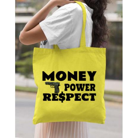 Sacosa din panza Money, power,respect Galben