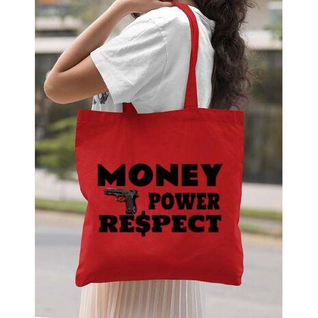 Sacosa din panza Money, power,respect Rosu