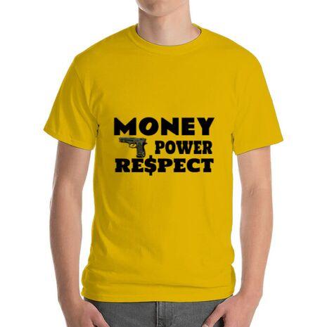 Tricou ADLER barbat Money, power,respect Galben