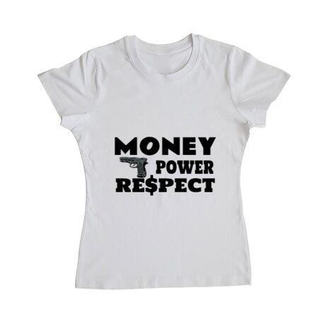 Tricou ADLER dama Money, power,respect Alb