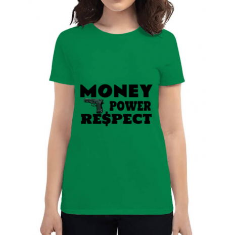 Tricou ADLER dama Money, power,respect Verde mediu