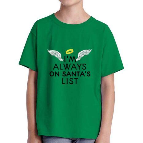 Tricou ADLER copil Always on santa's list Verde mediu