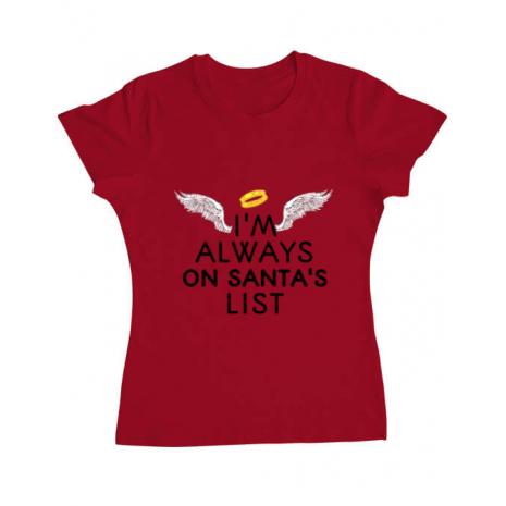 Tricou ADLER dama Always on santa's list Rosu