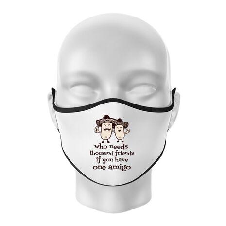 Masca personalizata reutilizabila One amigo Alb