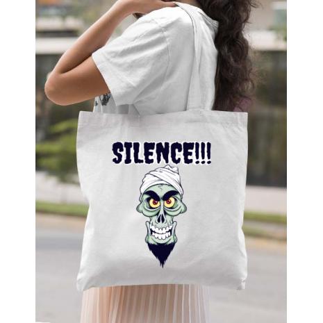 Sacosa din panza Silence Alb