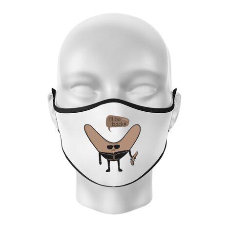 Masca personalizata reutilizabila I'll be back Alb
