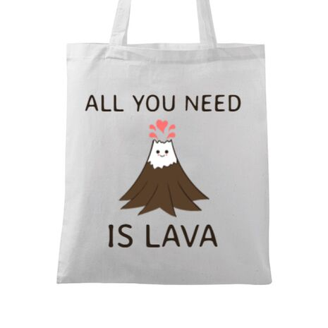 Sacosa din panza All you need is lava Alb