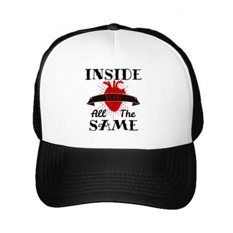Sapca personalizata Inside we're all the same Alb
