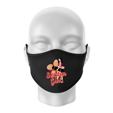 Masca personalizata reutilizabila Skater Girl Negru