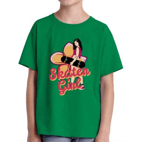 Tricou ADLER copil Skater Girl Verde mediu