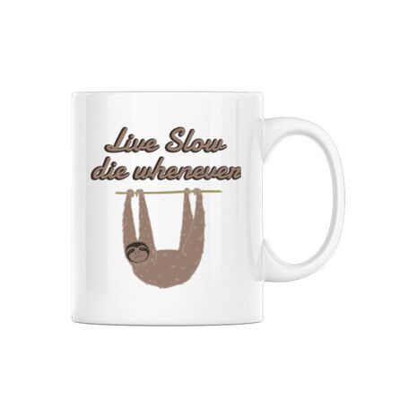 Cana personalizata Live slow, die whenever Alb