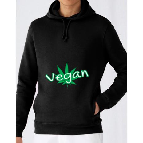 Hoodie barbat cu gluga Vegan Negru