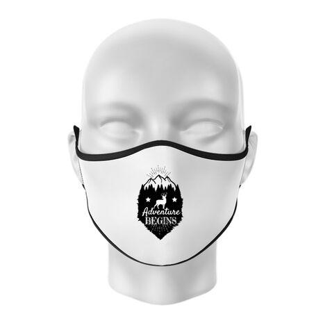 Masca personalizata reutilizabila Adventure Begins Alb