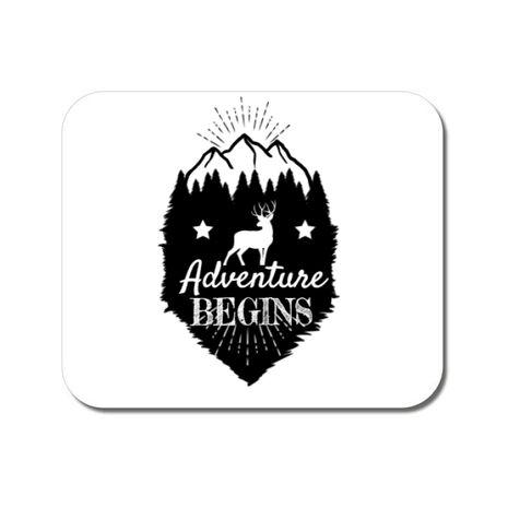 Mousepad personalizat Adventure Begins Alb