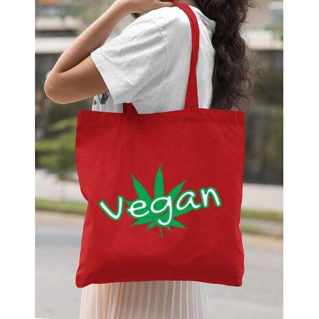 Sacosa din panza Vegan Rosu