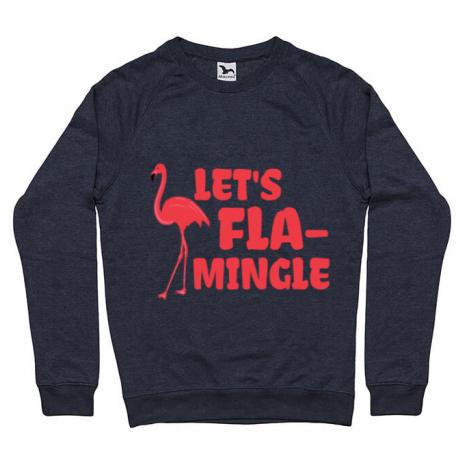 Bluza ADLER barbat Let's flamingle Denim inchis