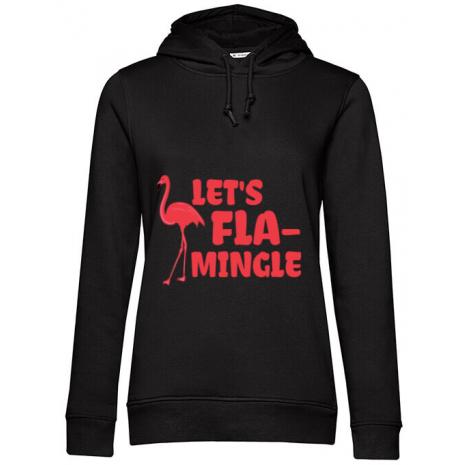Hoodie dama cu gluga Let's flamingle Negru