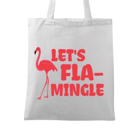 Sacosa din panza Let's flamingle Alb