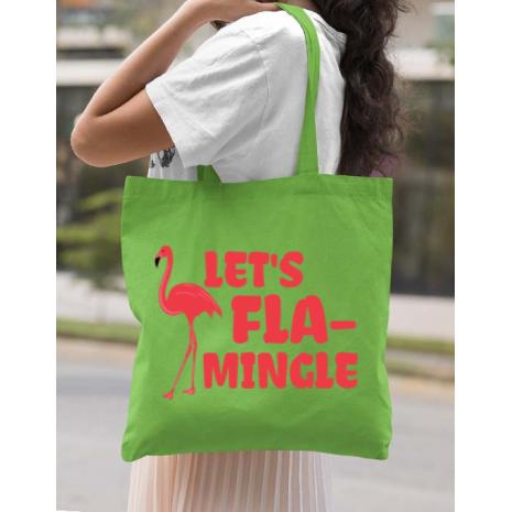 Sacosa din panza Let's flamingle Verde mar