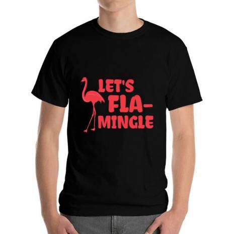 Tricou ADLER barbat Let's flamingle Negru