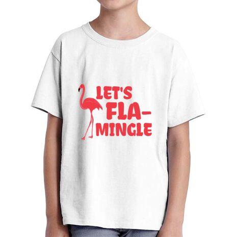 Tricou ADLER copil Let's flamingle Alb