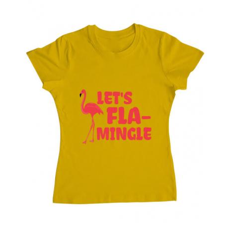 Tricou ADLER dama Let's flamingle Galben