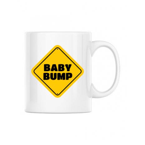 Cana personalizata Baby bump Alb