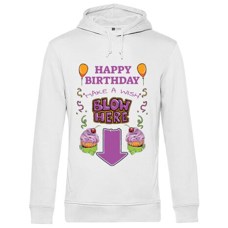 Hoodie barbat cu gluga Make a wish Alb