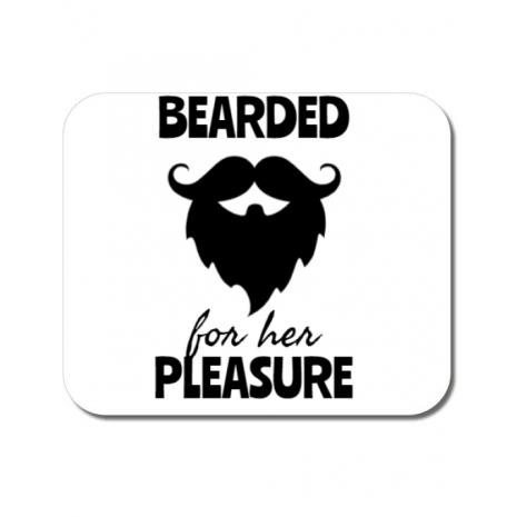 Mousepad personalizat Bearded for her pleasure Alb