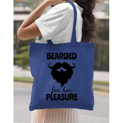 Sacosa din panza Bearded for her pleasure Albastru regal
