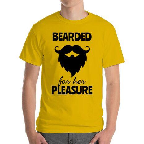 Tricou ADLER barbat Bearded for her pleasure Galben