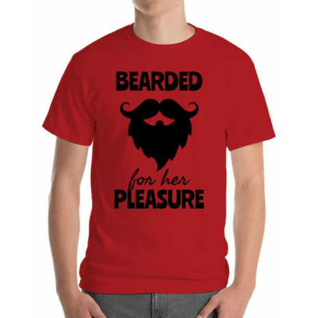 Tricou ADLER barbat Bearded for her pleasure Rosu