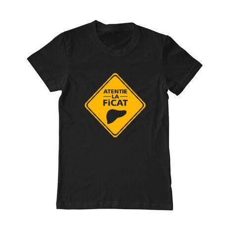 Tricou personalizat barbat Atentie la Ficat Negru