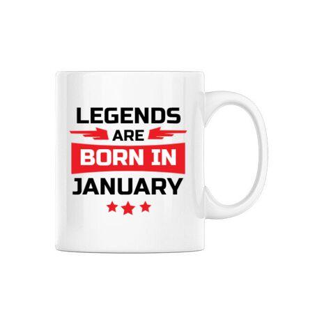 Cana personalizata Legends are born in January Alb