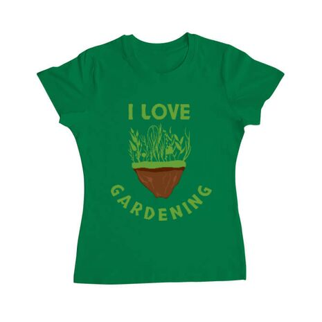 Tricou ADLER dama I love gardening Verde mediu