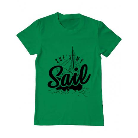 Tricou ADLER barbat She s my sail Verde mediu