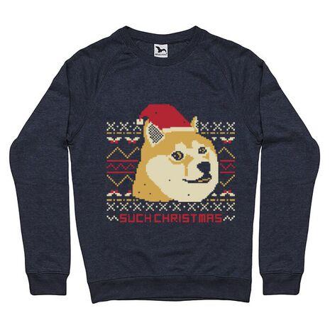 Bluza ADLER barbat Doge christmas Denim inchis