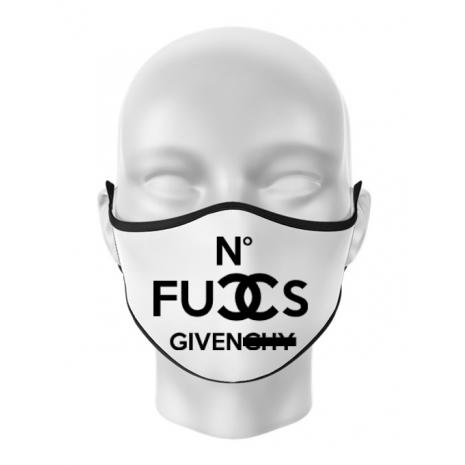Masca personalizata reutilizabila No fucks given Alb
