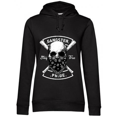Hoodie dama cu gluga Gangster skull Negru