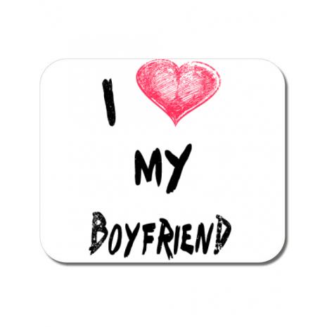 Mousepad personalizat I love my boyfriend Alb