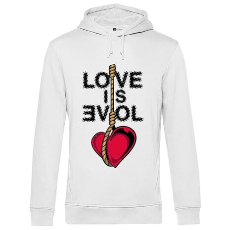 Hoodie barbat cu gluga Love is evil Alb