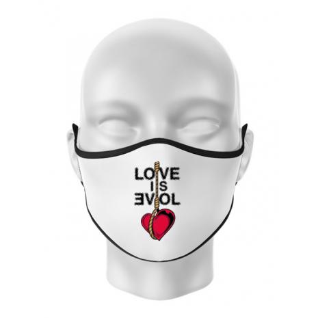 Masca personalizata reutilizabila Love is evil Alb