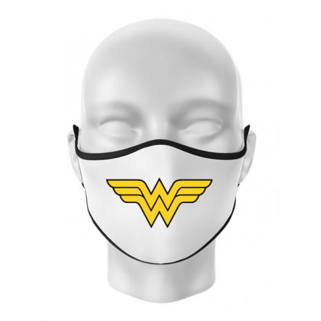 Masca personalizata reutilizabila Wonder woman Alb