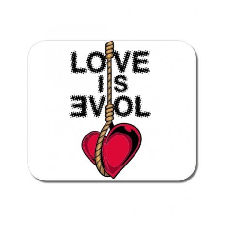 Mousepad personalizat Love is evil Alb